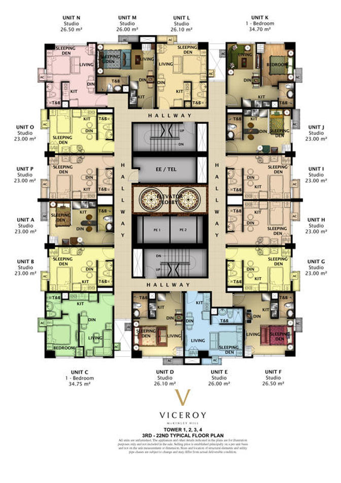 The Viceroy condominium in Mckinley Hill - floor layout